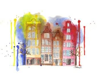 Amsterdam, watercolor illustration art print