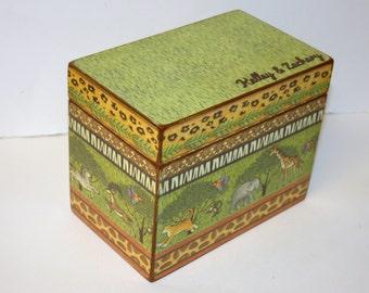 Keepsake Box, Jungle Safari Box, 4x6 Box, Personalized Box, Animal Print Box, Handmade 4 x 6 Wooden Baby Card Box,  Recipe Box