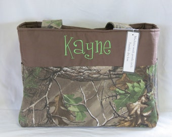 Camo Diaper Bag - Monogrammed - Eight Pockets - Large - Travel - Made to Order