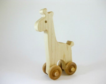 Wood Toy Giraffe Push Toy, natural wooden toy