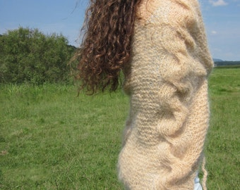 Mohair hand cable knit cardigan, shrug in cream, pale peach