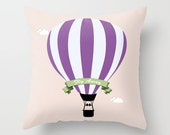 Throw Pillow Cover Fly Away Hot Air Balloon - Purple Lilac Pink - 16x16, 18x18, 20x20 - Bedroom Nursery Original Design Home Décor by Adidit