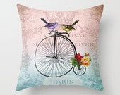 Throw Pillow Cover - Love Birds on Bicycle Vintage Ephemera - 16x16, 18x18, 20x20 - Pillow case Original Design Home Décor by Adidit