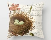 Throw Pillow Cover - Blue Eggs Bird's Nest on Vintage Ephemera - 16x16, 18x18, 20x20 - Pillow case Original Design Home Décor by Adidit