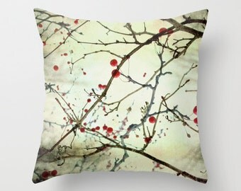 Pillow Cover, Tree Photo Pillow, Red Berry Pillow, Nature Throw Pillow, Brown Red Pillow, Bedroom Decor, Living Room Decor 16x16 18x18 20x20