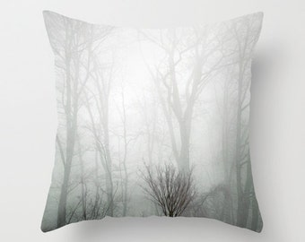 Pillow Cover, Forest Pillow, Tree Pillow, Foggy Forest Pillow, Tree Photo Pillow, Black Gray White Pillow 16x16 18x18 20x20 Throw Pillow
