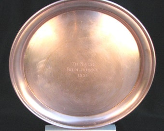 1950s Solid Copper Large Presentation Platter Serving Tray 12 inches Engraved