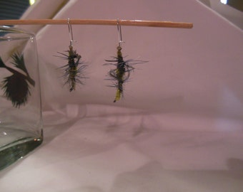 Lt. Blue and Yellow Feather Fly Tied Pair of Earrings, Fly Tied, Tied, Earrings, Feather Earrings, Blue, Yellow