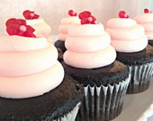 Chocolate Ganache Cupcakes with Pink Butter Cream - Valentine's Day and Wedding - 1 Dozen Cupcakes - Local Charleston Area Pickup Only