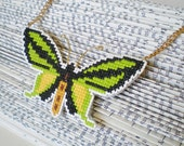 Cross Stitch Butterfly Statement Necklace / Green Black & Gold