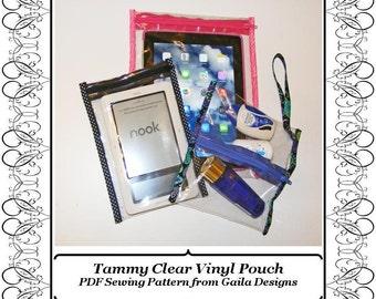 PDF Sewing Pattern; Tammy Clear Vinyl Pouch, iPad, iPad Mini, tablets, Kindle, Nook, Travel Quart, custom sizing