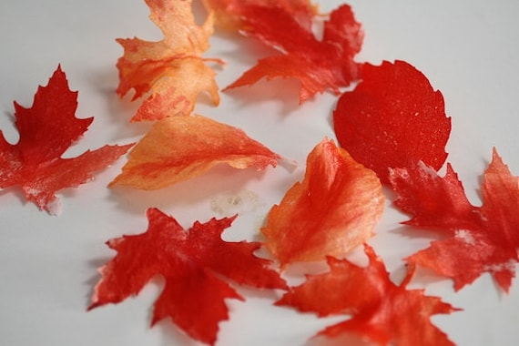 Cake Decorating Leaves : 12 wafer paper leaves for cake decorating wedding cake