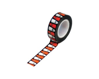 Black and White Halloween Ghosts on Black Paper Tape by Trendy Tape - Spooky & Cute Washi Tape - 10 Yards