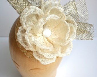 Large sinamay flower bridal headpiece