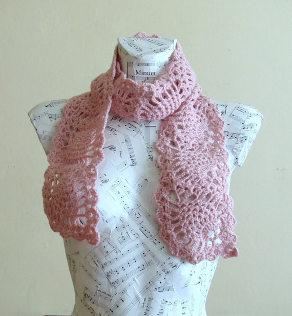 sale handmade crochet pineapple scarf ready for shipping lacy