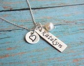 Necklace with Hand Stamped Kids  Name and Sterling Tag and Heart Charm