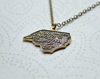 Vintage North Carolina Necklace - State Charm Necklace - North Carolina Jewelry - Raleigh - Asheville - Charlotte - State Jewelry