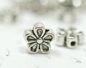 6mm Silver Flower Spacers, Double Sided Flowers, Antiqued Silver Stacking Spacers, 10 pcs