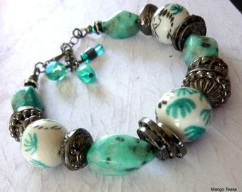 Ceramic Beads Bracelet, Sesame Jasper Bead Bracelet, Gunmetal Chain Bracelet, Seafoam Green and Black Bracelet, FREE SHIPPING