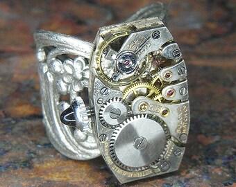 Men's or Women's STEAMPUNK Ring Jewelry - Torch SOLDERED - Rectangular BULOVA Watch Movement w/ Original Jeweled Crown - Vintage Piece