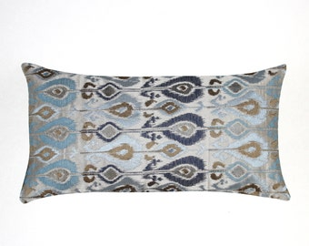 Lumbar Pillow 8x16 Petite Lumbar Decorative Blue Ikat Oblong Accent Throw Pillow Cushion Cover