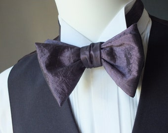 BIG Bow Tie - taffeta fabric - I make freestyle bow ties for men / bowtie for him, self tie men's bowtie.