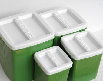 Plastic Cannister Set - Nesting Cannisters - Vintage Cannisters - Retro Green Cannisters