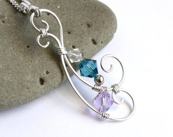Swirling Wave Pendant - CHOICE of Color - Silver Wire Wrapped Necklace - Swarovski Crystal - Elven Teardrop Filigree