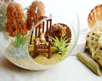 Cat Terrarium Kit ~ Large Glass Terrarium with 2 Air Plants - 2 Autumn Trees - Rocking Chair - Fall Decor ~ Miniature Garden - Gift Idea