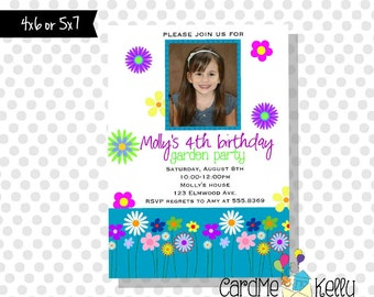 Printable Garden Flower Birthday Party floral invitation - Digital File
