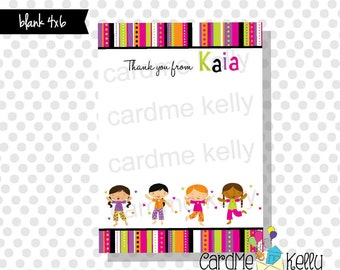 Printable 4x6 Coordinating Slumber Party Birthday Invitation Thank You Note - Printable Digital File