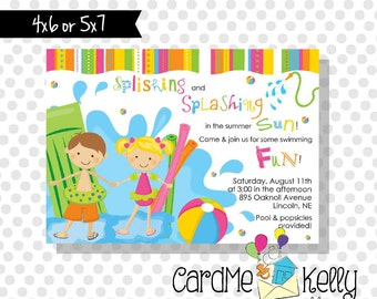 Printable Boy or Girl or Both Birthday Pool Party Invitation - Printable Digital File