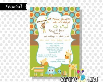 Printable Girl or Boy Jungle Zoo Animals Baby Shower Invitation - Digital Dile