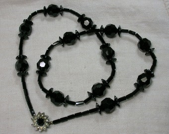 Black Faceted Bead Necklace, Mid Century Goth, Floral Rhinestone Clasp