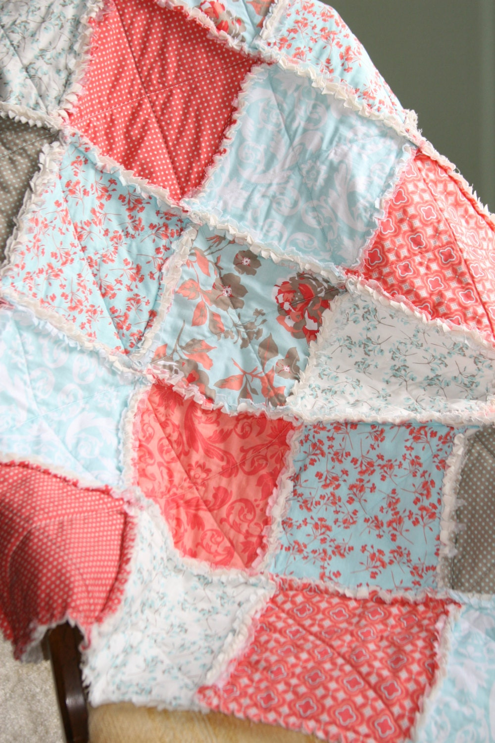Crib Rag Quilt Baby Girl Crib Bedding Coral Aqua Tiffany Blue