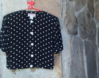 80s DOT CROP JACKET vintage top shirt shoulder pads S