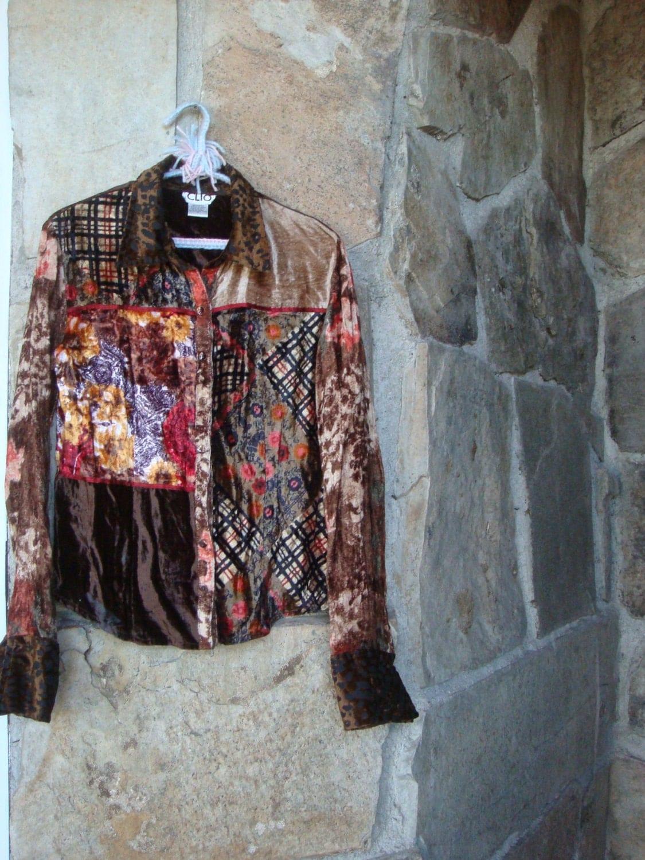90s Patchwork Velvet Shirt Vintage Bohemian Button Up M