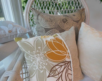 Flower Pillows - Set Of Two Designer Pillows - Autumn Magnolia Decorative Reversible Pillows - 15 x 15 Inch - Ivory, Cream, Pearl