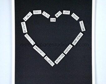 Heart Word Art - 8 x 10 Running Inspiration Black & White Reproduction Print - Gift Idea for Runner, Run Encouragement, home decor