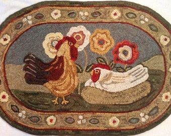 "Rug Hooking PATTERN, Expectations, 22"" x 36"", J745, Chickens, Hooked Chickens, Fold Art Chickens"