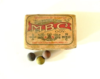 French  clay marbles  antique in cardboard medicine box