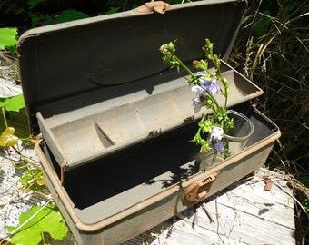 Vintage Metal Tool Box Industrial SALVAGE Rusty Flower Planter Box Recycle Repurpose