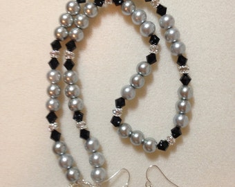Black and silver pearl and crystal necklace