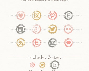 INSTANT DOWNLOAD - Type Writer Keys Social Icons for your blog or website - romantic blush colors