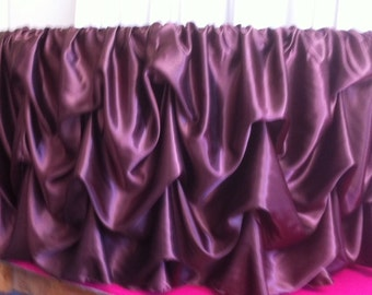 Custom Made Wedding Cake Table Tablecloth Chocolate brown  Satin 60 Inch Round