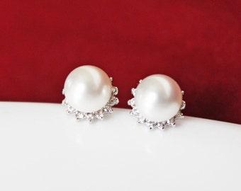 Bridal Earrings, Wedding Earrings, Cubic Zirconia Silver Posts Swarovski Crystal White Pearls, Bridesmaids Earrings