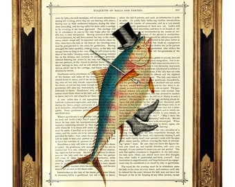 Dancing Fish Gentleman with Top Hat and Cane - Vintage Victorian Book Page Art Print Steampunk Nautical Sealife