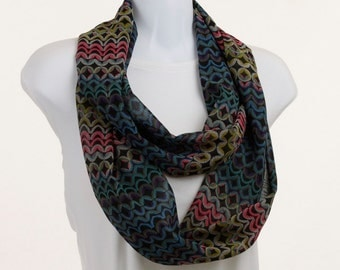 Infinity Scarf - Multi color Pink Green Blue YellowSheer and Spunky geometric design ~ SH198-L5