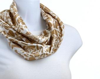 Short Infinity Scarf Silky Tan Hieroglyphic design on Pearl White Background ~ SK167-S5