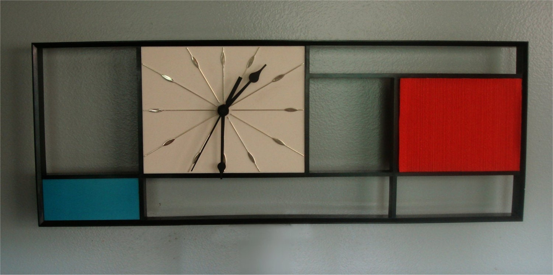 Mid Century Mondrian Wall Clock Sunbeam Vintage 1950s Eames